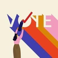 vote lettrage avec jeune femme et marqueur vecteur
