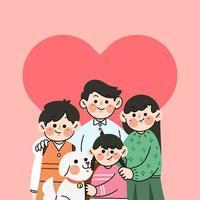 doodle de famille heureuse