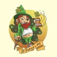 mascotte de la saint patrick tenant de la bière