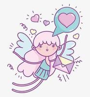 fille ange avec lettre et coeurs