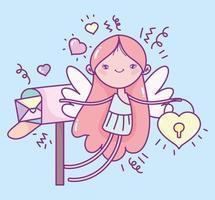 fille ange de la saint-valentin avec boîte aux lettres