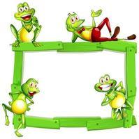 modèle de signe vierge avec des grenouilles heureuses sur blanc