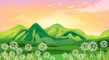 scène avec des montagnes vertes et un champ au coucher du soleil vecteur