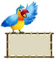 modèle de carte avec un perroquet mignon sur blanc