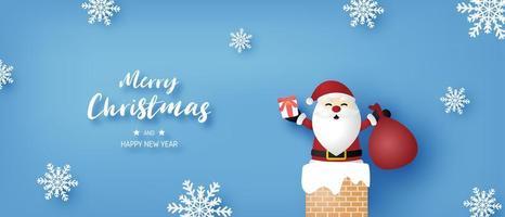 bannière de Noël avec le père Noël et des flocons de neige sur fond bleu
