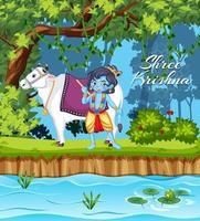 conception d'affiche pour shree krishna vecteur