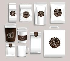 ensemble de produits d'emballage de café blanc