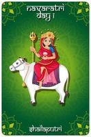 conception d'affiche de festival navarati avec déesse sur vache