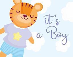 mignon bébé nouveau-né garçon tigre vecteur