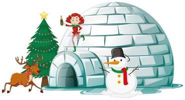 elfe et renne sur igloo
