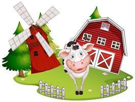 grange isolée avec vache vecteur
