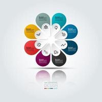 infographie commerciale colorée avec 8 options vecteur