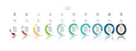 Infographie d'entreprise moderne en 10 étapes en demi-cercle vecteur