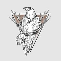 corbeau halloween avec crâne animal