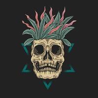 visage de crâne avec des feuilles dans la tête