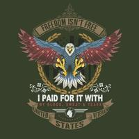 la liberté n'est pas libre amérique conception vétéran aigle