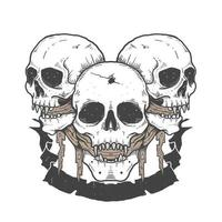crânes d'halloween avec du tissu dans la bouche et la bannière