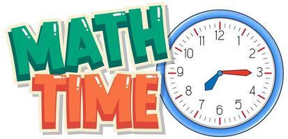 typographie de temps mathématique avec horloge vecteur