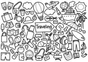 ensemble de doodle de voyage vecteur