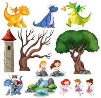 enfants de contes de fées, château et ensemble de dragon vecteur