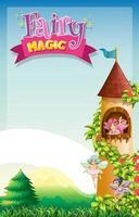texte magique de fée avec des fées volant dans la tour