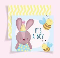 modèle de carte de douche de bébé lapin garçon vecteur