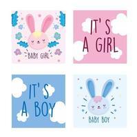 modèles de cartes d'invitation de bébés lapins mignons vecteur