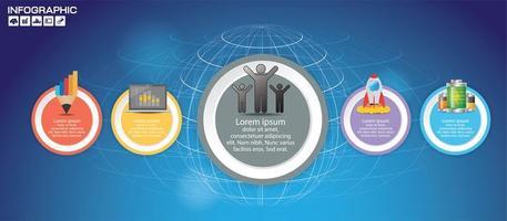 5 pièces de cercle coloré infographique vecteur