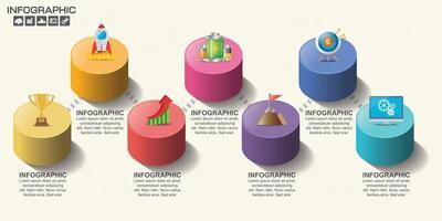 infographie de la chronologie du cylindre coloré vecteur