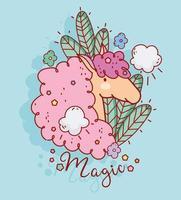 jolie licorne magique avec des feuilles
