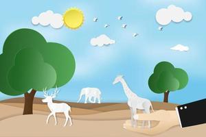 journée mondiale de la faune avec girafe à la main et autres animaux vecteur