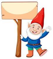 gnome de dessin animé tenant une bannière vierge vecteur