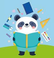 ours panda avec du matériel scolaire vecteur