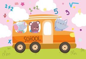 animaux heureux dans le bus scolaire vecteur