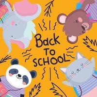 joli modèle de carte animal de retour à l'école