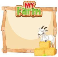 conception de modèle de bordure avec chèvre et foin vecteur