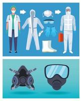 médecin et agents de sécurité biologique avec équipement de protection covid-19