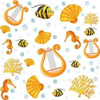 modèle de style de dessin animé animal de mer fée transparente vecteur
