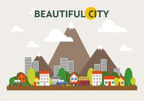 Illustration Vecteur de paysage urbain en montagne