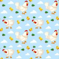 modèle sans couture avec des poulets dans le ciel vecteur