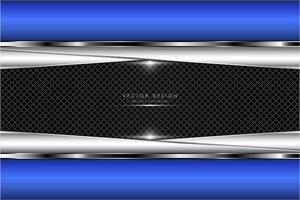 Bordure bleue métallique et plaques angulaires argentées sur la texture de la grille