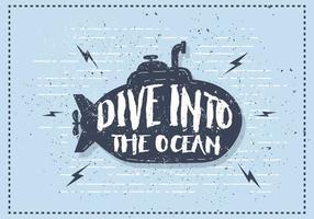 Illustration vectorielle sous-marine vintage gratuite