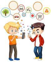 garçons utilisant un téléphone intelligent avec le thème des icônes de médias sociaux