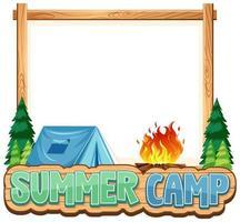 conception de modèle de frontière avec tente et feu de camp vecteur