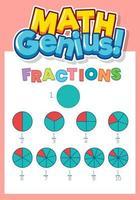 modèle de conception de feuille de calcul pour les fractions vecteur