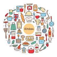 cadre de cercle d'éléments de cuisine colorés dessinés à la main