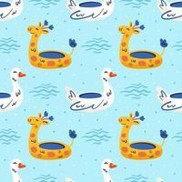 anneau de canard blanc et modèle sans couture de bague girafe jaune vecteur