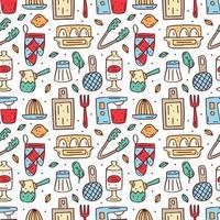 modèle sans couture d'éléments de cuisine colorés dessinés à la main