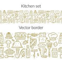 bordure transparente des éléments de cuisine contour doré dessinés à la main