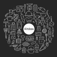 cadre de cercle d'éléments de cuisine de style craie dessinés à la main